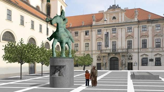 Vítězný návrh jezdecké sochy Jošta Moravského na Moravské náměstí od dnes již zesnulého sochaře Maria Kotrby brněnské radní neoslovil.
