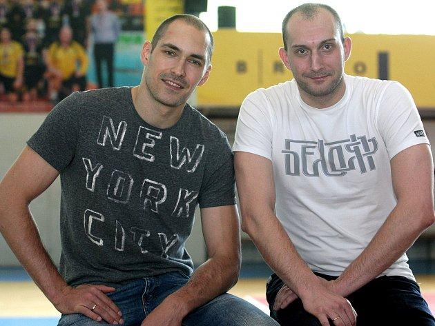 Ruské opory volejbalového Brna Vladimir Sukharev a Sergej Andrianov.