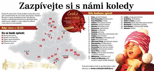 Seznam míst, kde se ve středu na jižní Moravě budou zpívat koledy.