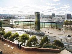 Pohled na hlavní budovu nového nádraží na lokalitě pod Petrovem. Ilustrační foto.