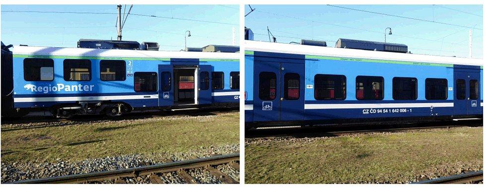 Vlakové vozy s usměrněným nástupem budou označené zeleným pruhem nad okny s doplňujícím textem. Ilustrační foto.