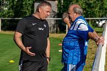 Fotbalová Líšeň přivedl k trenérovi Milanu Valachovičovi (vlevo) zkušeného stratéga Leoše Kalvodu.