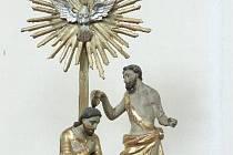 Soška sv. Jana Křtitele, odcizená ve Veverských Knínicích