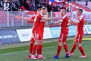 Brno 17.4.2019 - 23. kolo FNL mezi domácí Zbrojovkou Brno (červená) a Pardubicemi (modrá)