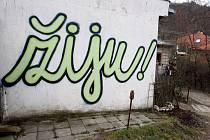 Graffiti na domku v brněnské Kamenné kolonii.