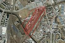 Na snímku je území v lokalitě nového hlavního nádraží v Brně, na které vypíše město a Správa železnic mezinárodní urbanisticko-dopravně-architektonickou soutěž.