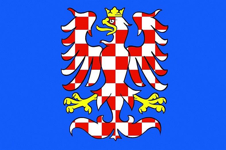 Stříbrnočervená šachovaná orlice se zlatou korunou a pazoury hledící vpravo na modrém poli. Nejstarší doložený prapor Moravy. Je vyobrazený už v materiálech z patnáctého století. Jako symbol je uzákoněná díky umístění na znacích a vlajkách krajů.