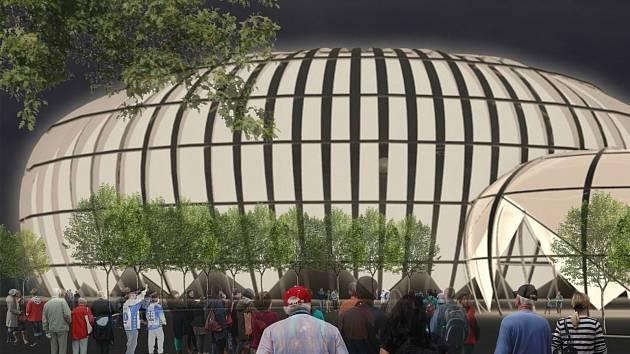 Návrh studentů fakulty architektury brněnské techniky na stavbu sportovní haly za pavilonem Z.