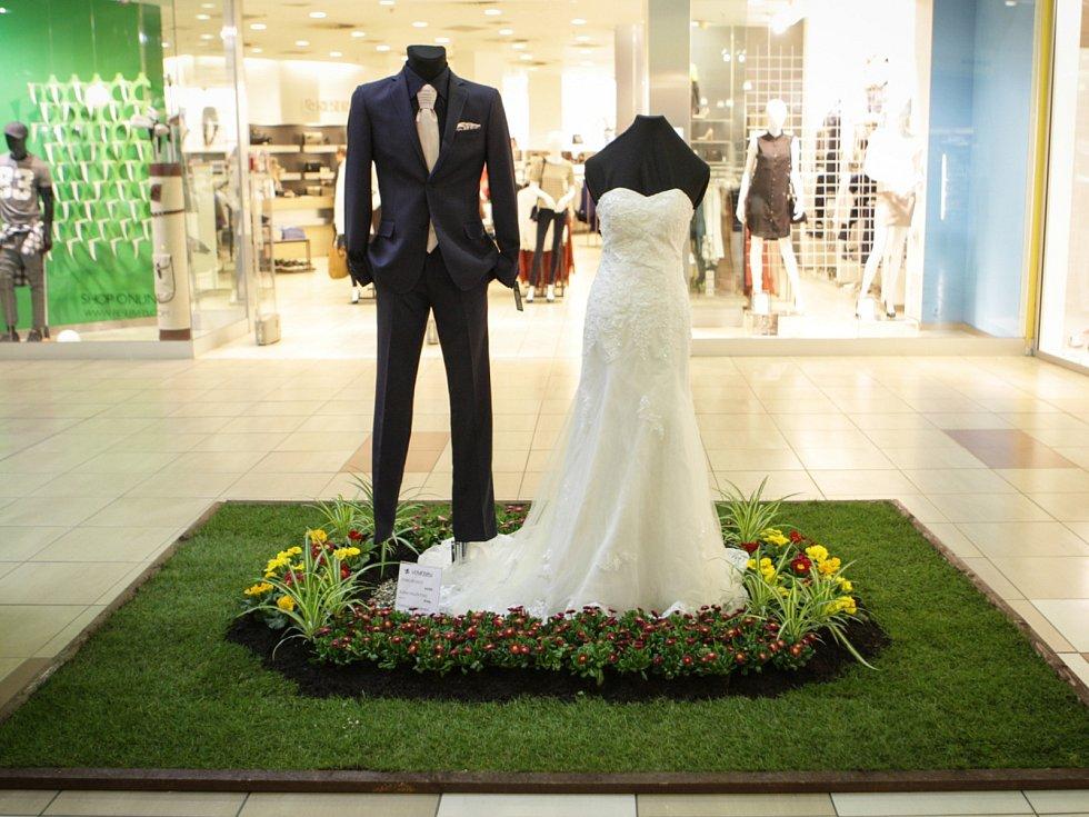 Načerpat svatební inspiraci vyrazily budoucí nevěsty do Nákupního centra v Králově Poli. Od čtvrtka na chodbách mezi obchody narazí na bohatě zdobené svatební šaty.