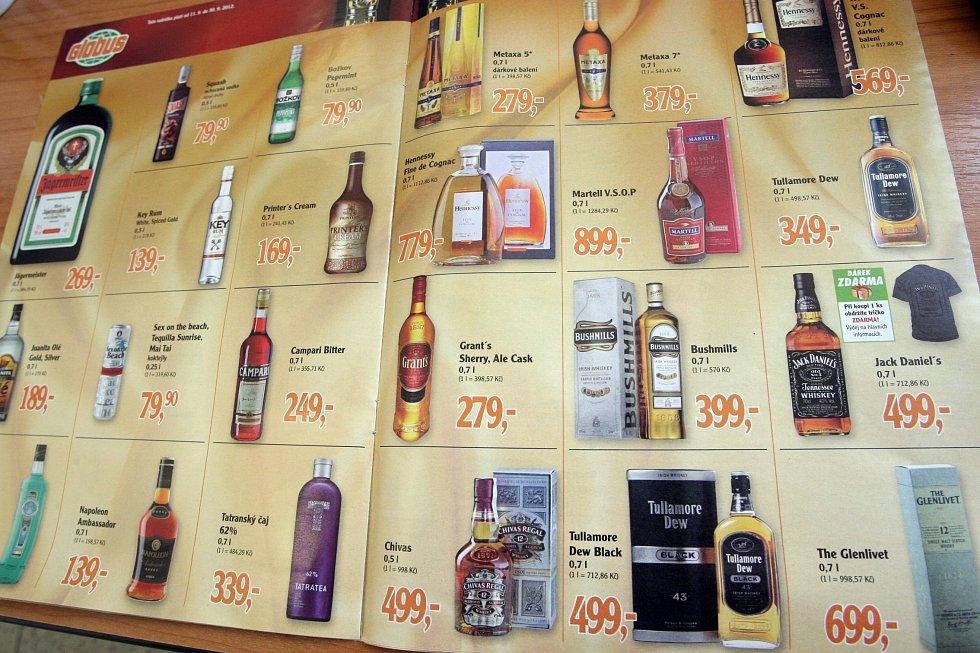 Alkoholické nápoje v nabídce tuzemských maloobchodních řetězců. Ilustrační foto.