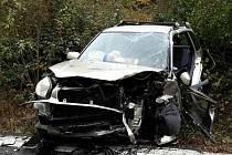 Nehoda tří aut v brněnské Bystrci. Řidička nejdřív narazila do prasete, pak s autem vjela do protisměru.