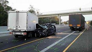 Nehoda na dálnici D1 u Tvarožné na Brněnsku