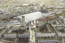 Vítězný návrh architektonické soutěže na podobu nového hlavního vlakového nádraží v Brně. Mohlo by se jmenovat Zastávka Brno - Šalingrad.