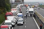 Kolona na dálnici D1 u Brna. Ilustrační foto.