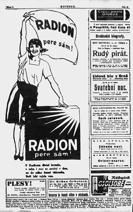Už v roce 1928 vycházely v Rovnosti také inzeráty. Třeba na prací prášek Radion.