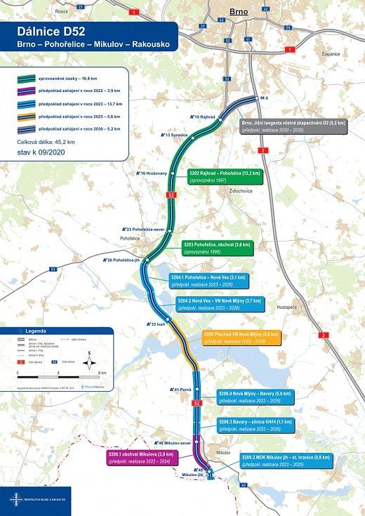 Plánovaná trasa dálnice D52.