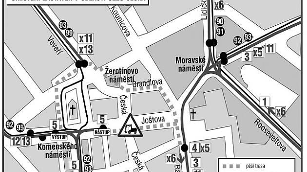 Jak budou jezdit tramvaje o prázdninách v centru Brna