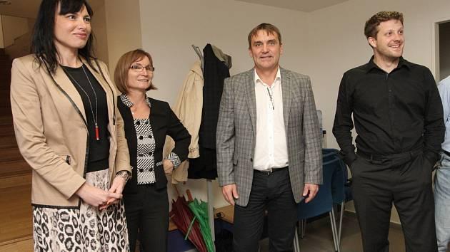 Zástupci vítězného hnutí ANO, Žít Brno, KDU-ČSL a Strany zelených.