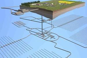 Vizualizace toho, jak by mohlo jaderné úložiště poblíž Olší a Drahonína vypadat.