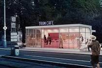 Nová kavárna (na snímku) možná už příští rok vznikne z chátrající funkcionalistické zastávky Obilní trh u stejnojmenného parku poblíž centra.