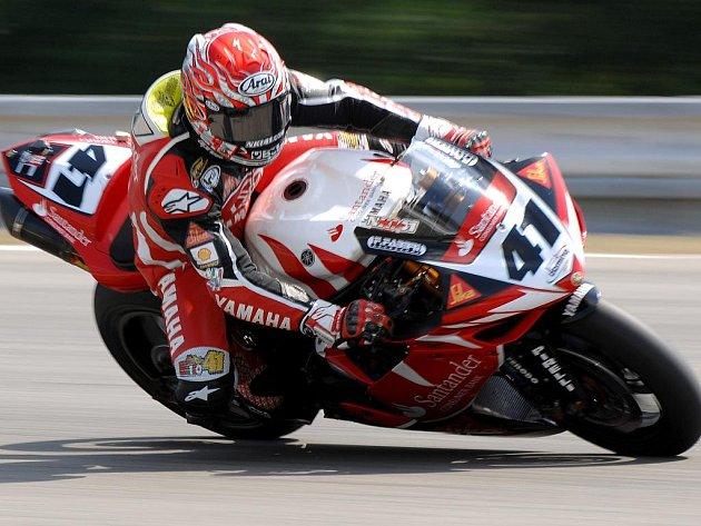 Lídr mistrovství světa motocyklových superbiků Noriyuki Haga.