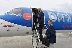 Brno 19.09.2017 - křest letadla obnovené linky Brno Mnichov na brněnském letišti a následně odlet delegace JMK do Mnichova, kde byla prohlídka letiště.