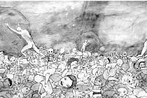 Témata obrazů jsou často ponurá. I z toho důvodu Tomáš Komínek do příběhů vsazuje nereálné postavy.