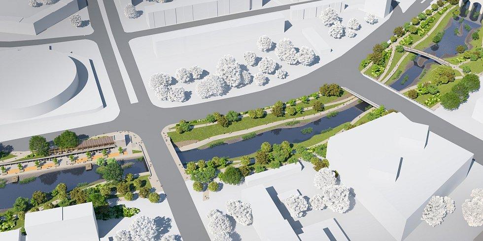 Budoucí podoba nábřeží Svratky v úseku mezi Riviérou a mostem u Uhelné ulice.
