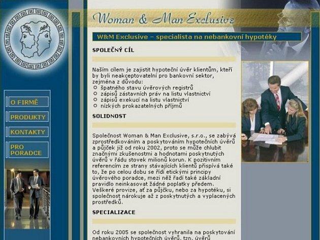 Webová prezentace Woman @ man exlusive.