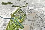 Vizualizace parku Jižánky u budoucího brněnského hlavního nádraží u řeky.