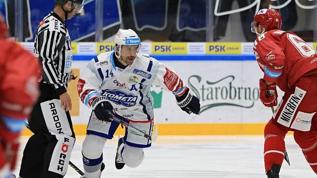 Hokejisté Komety ve druhém kole extraligy 2019/2020 zdolali na domácím ledě Třinec 2:1 po nájezdech.