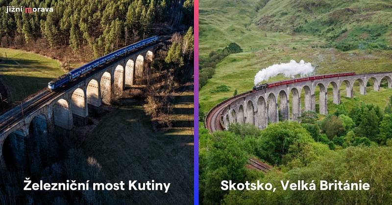 Železniční most Kutiny na Brněnsku a železniční viadukt ve Skotsku.