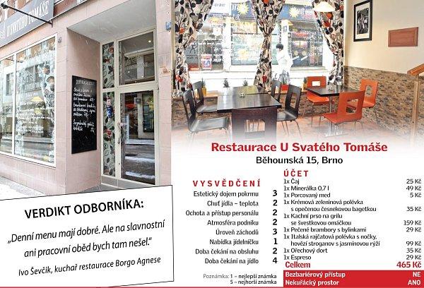 Restaurace USvatého Tomáše vBrně.