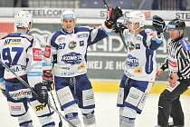 Utkání 35. kola hokejové extraligy: HC Vítkovice Ridera vs. HC Kometa Brno, 30. prosince 2017 v Ostravě. Radost, Zohorna Radim, Hruška Jan.
