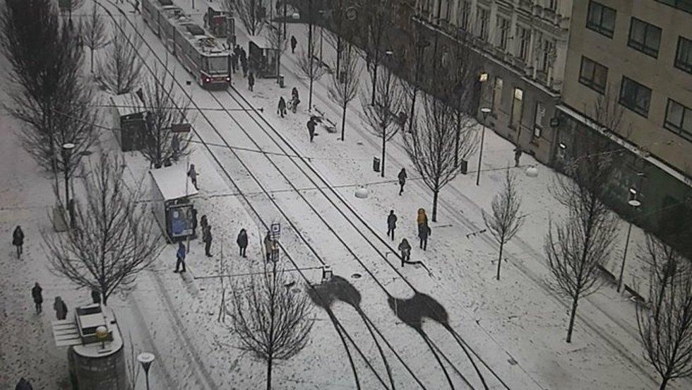 Sníh zkomplikoval autobusovou dopravu v Brně. Díky vyhřívání výhybek jezdily tramvaje bez problémů.