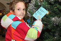 Dopisy pro Ježíška pověsily na vánoční stromeček děti z charitního azylového Domova svaté Markéty.
