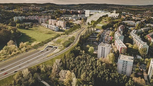 Nadhledová vizualizace průtahu Bystrcí od Sdružení Pelčák a partner architekti a HBH Projekt.