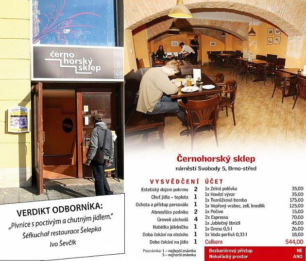 Restaurace Černohorský sklep vBrně.