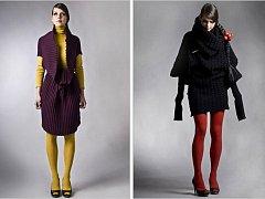 Dva modely z kolekce Svetrynk, se kterou zvítězila návrhářka Bronislava Brůčková z Velkých Bílovic v soutěži Top Style Designer na brněnských veletrzích Styl a Kabo.