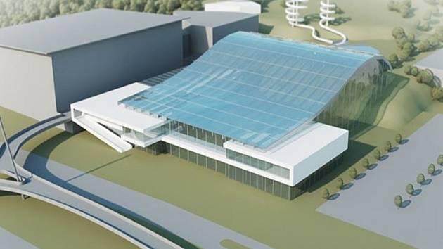 Vítězný návrh podoby akvaparku za Lužánkymi. Má střechu připomínající vlnu.