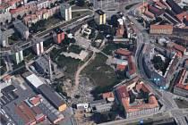 Lokalita předpokládané stavby v ortofotomapě.