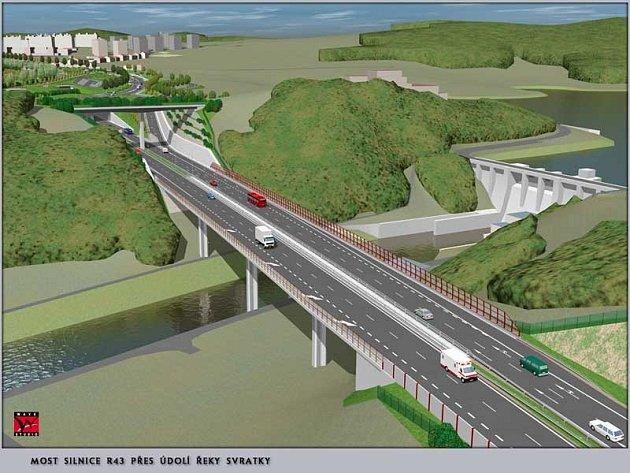 Vizualizace - Most silnice R43 přes údolí řeky Svratky.