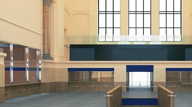 Vizualizace opravené výpravní haly hlavního vlakového nádraží v Brně. Ilustrační foto.