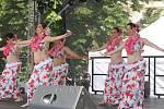 Na Palackého náměstí ve Vyškově vystupoval soubor břišních tanečnic v v havajském rytmu.