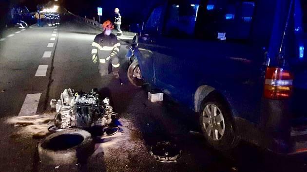 Nehoda na silnici 43 u kuřimského Podlesí.