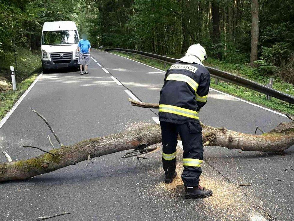 Újezd u Boskovic. Téměř dvě desítky výjezdů hasičů si vyžádaly páteční bouřky v Jihomoravském kraji.