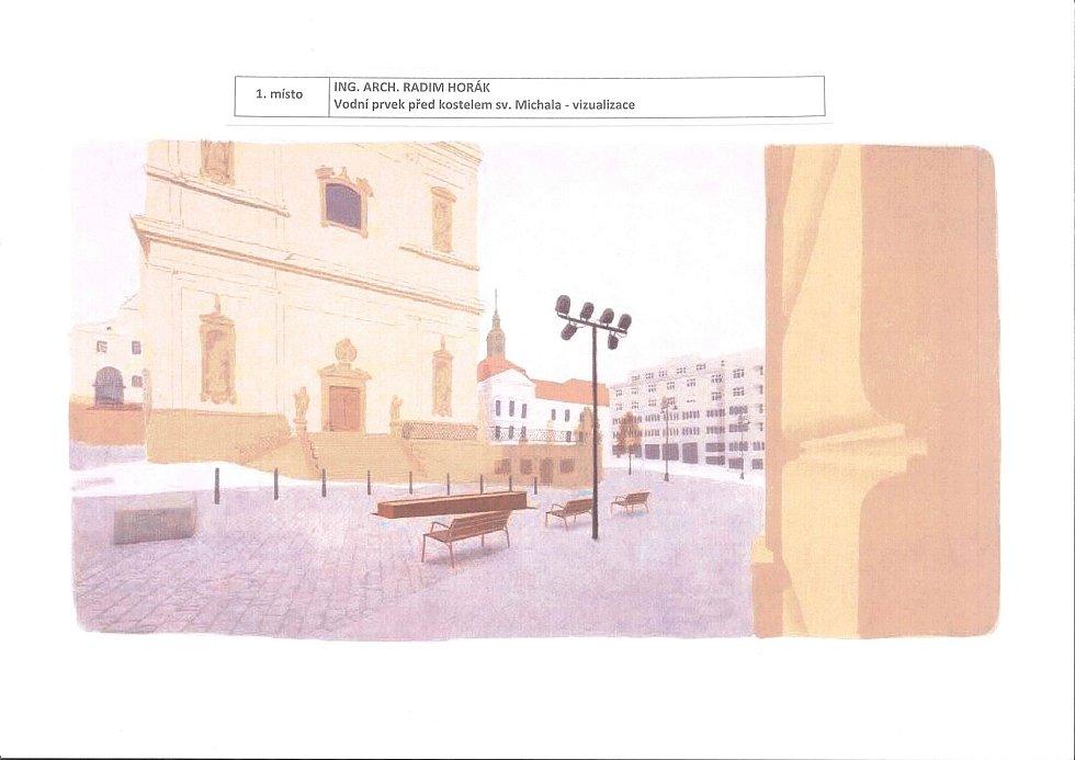 Vítězný návrh architektonické soutěže na vodní prvky na Dominikánském náměstí. Vizualizace vodního prvku před kostelem svatého Michala.