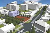 Návrh centra Rajhradu počítá s obchodním domem, náměstím s kašnou, parčíkem a stromy.