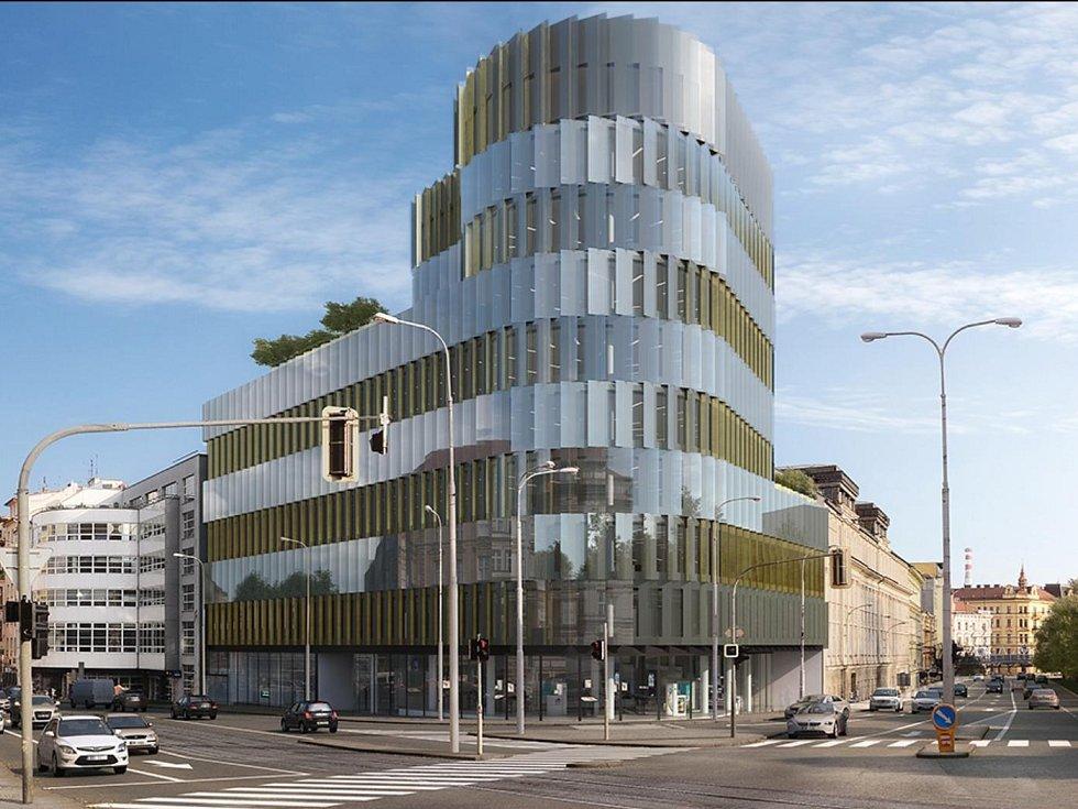 Plánovaný hotel na křižovatce ulice Milady Horákové s Kolištěm nahradí devítipatrová kancelářská budova.