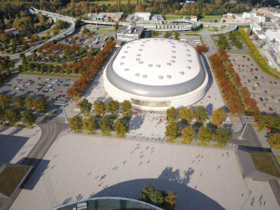Nová multifunkční Arena Brno z pohledu od Pavilonu Z k Bítešské ulici.